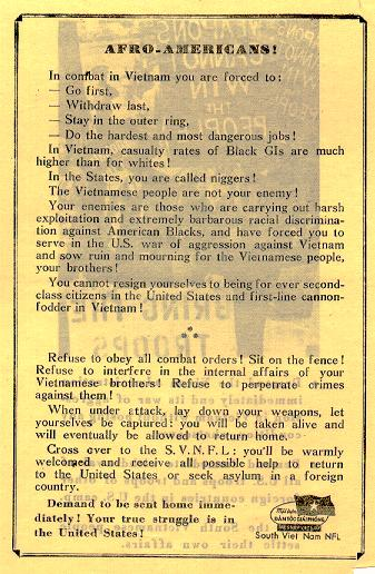 Source: Friedman, SGM Herbert A. (Ret.). (200?). National Liberation Front (NLF) Anti-American Leaflets Of The Vietnam War. Retrieved December 1, 2004 from the Web at http://www.psywarrior.com/VCLeafletsProp.html.