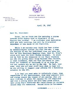 Source: Robinson, Jackie. (April 18, 1967). Letter to President Lyndon B. Johnson. Retrieved August 11, 2002 from the World Wide Web: http://www.archives.gov/digital_classroom/lessons/jackie_robinson/letter_1967.html.